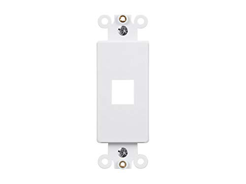 Monoprice Dcor Insert for Keystone 1 Hole - White for Home Office - Plate Wall Dcor