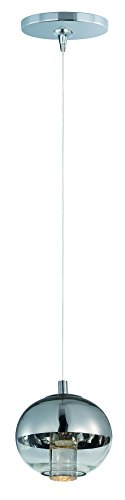 ET2 E22561-81PC Zing 1-Light RapidJack Pendant and Canopy Mini Pendant, Polished Chrome Finish, Mirror Chrome Glass, PCB LED Bulb, 1.2W Max., Dry Safety Rated, 2900K Color Temp., Low-Voltage Electronic Dimmer, gLASS Shade Material, 300 Rated Lumens ()
