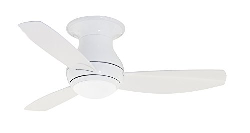 Emerson Ceiling Fans CF144WW, Curva Sky, Modern Low Profile Hugger, Indoor Outdoor Ceiling Fan With Light And Remote, 44-Inch Blades, Appliance White Finish