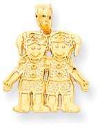 (Quality Gold 2 Girls (Twins) Charm, Yellow Gold)