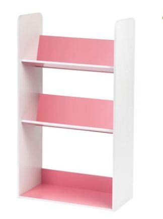 IRIS 3-Tier Tilted Shelf Book Rack, Pink and White