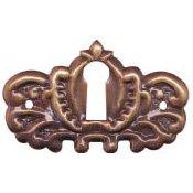 Brass Keyhole Cover (E-22AB ORNATE ANTIQUE STAMPED BRASS KEYHOLE COVER + FREE BONUS (SKELETON KEY BADGE))