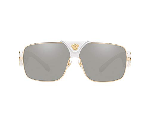 Versace Women's VE2207Q Gold/Medusa/White Leather/Light Grey Mirror Silver One Size (Versace Hydrating Lipstick)