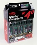Project Kics R40 NeoChro Racing Composite Lug Nuts - 12x1.50mm (16 piece Lug Nut Set with 4 Locks)