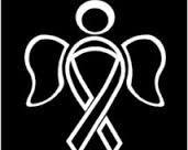 (Chase Grace Studio Lung Cancer Awareness Ribbon Guardian Angel Vinyl Decal Sticker White Cars Trucks Vans SUV Laptops Wall Art 6.5