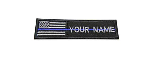 Custom Name Text American Flag Thin Blue LINE Morale Patch Hook & Loop Backing 4x1 inch