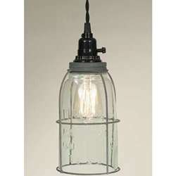 Pendant Lamp, Rustic Open Bottom Caged Quart Mason Jar, Galvanized