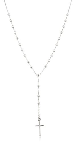- Sterling Silver 3mm 18 Inch Beaded Rosary Necklace with Dangling Cross (I-1515)