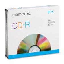 CD-R, w/ Slim Jewel Case, 52X, 700MB/80Min, 5/PK