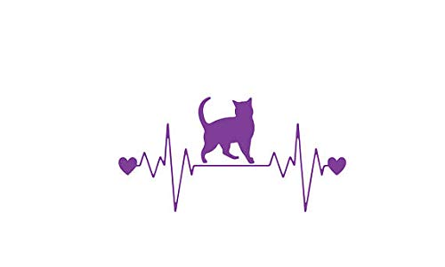 kiskistonite Cat Heart Beat Decal, Cat Laptop Decal, Cat Vinyl Decal, Girly Laptop Sticker, Tumbler, Feline, Kitty, Crazy Cat Lady, Animal Lover, Rescue, Decal for Wall Bedroom MacBook 3 inches
