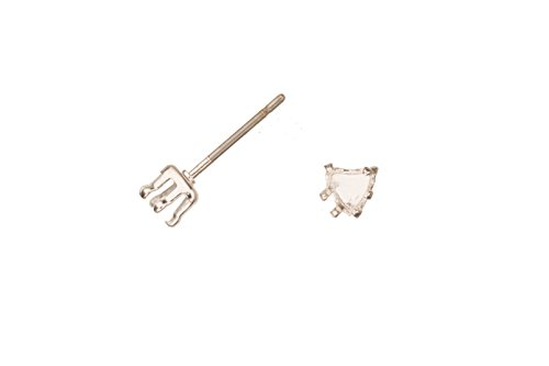 Heat Shape Snap-On Ear Stud Silver Plated Brass Fits 4mm Cabochons And Crystal With Surgical Stainless Steel Pin 4X4mm sold per 10pcs ()