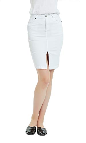 Tronjori Womens Distressed Stretch Denim Pencil Skirt Frayed Hem(S,White)