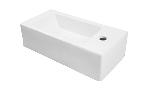 DECOLAV 1486R-CWH Allona Classically Redefined Rectangular Wall-Mount or Above-Counter Lavatory Sink with Right Side Faucet Hole, White