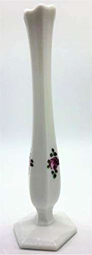 - Westmoreland White Milk Glass - Satin Bud Stretch Flower Vase, Hand Painted