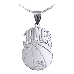 (Basketball Sport Charm Personalized with Name and Number - Sterling Silver - Made in USA)
