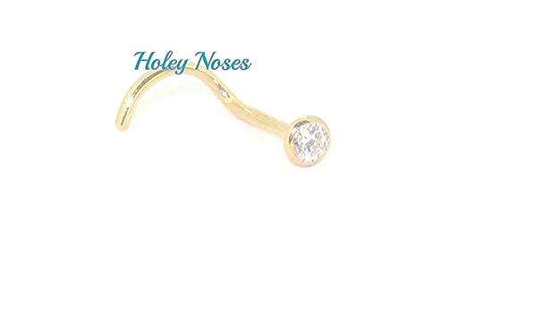New Piercing Nose Real White Gold 750 Brilliant Nose Stud Diamond 0,03 Carat 18k
