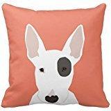 White Bull Terrier - Bull Terrier Cute Terrier Dog Black and White Dog Throw Pillow Cover 16 x 16 Inches