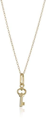 14k Yellow Gold Petite Key Pendant Necklace, 18
