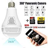 Light Bulb Camera,Include 32GB Card 1080P WiFi Security Camera, 2MP Wireles IP LED Cam,360 Degrees Panoramic VR Indoor/Outdoor Home Surveillance Cameras,Motion Detection/Night Vision/Alarm