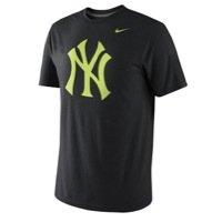 Nike New York Yankees MLB Tri-Blend Logo T-Shirt Neon/Heather Black (XL)