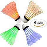 Arespark LED Badminton Shuttlecock, Dark Night Colorful LED Goose Feather Glow Birdies Lighting