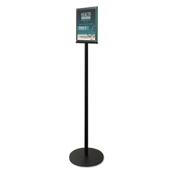 Double-Sided Magnetic Sign Stand, 8 1/2 X 11 Insert, 56'' High, Clear/black