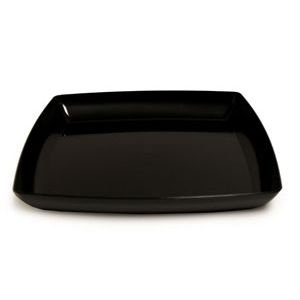 (12 in. Black Square Plastic Tray Party Accessory)
