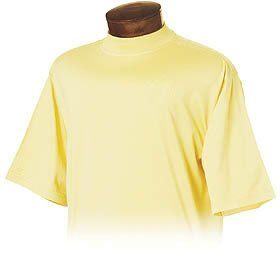 Monterey Club Mens Double Mercerized Cotton Short Sleeve Mock Neck Shirt #1170 (Sun, Small)