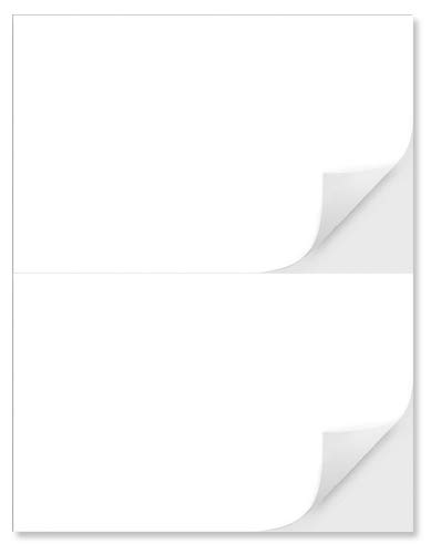 """2 Per Page 5-1/2"""" x 8-1/2"""" Blank White Laser/Ink Jet Labels, Strong Adhesive, Will Work for USPS Click-N-Ship, FedEx, UPS Shipping Labels (100 Label)"""