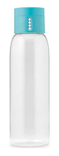 Joseph Joseph 80067 Dot Hydration-Tracking Water Bottle Counts Water Intake Tracks Consumption On Lid Twist Top, 20-ounce, Blue]()