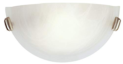 Half Wall Sconce 1 Light - Livex Lighting 4271-91 Home Basics 1 Light Brushed Nickel Wall Sconce with White Alabaster Glass