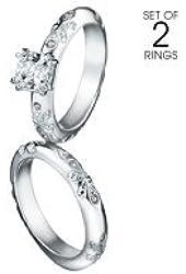 Avon Paradise Bliss 2 Piece CZ Engagement Ring and Band Set - Silvertone - Sizes 7, 8, 9, 10 (7)