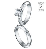 Avon Bands - Avon Paradise Bliss 2 Piece CZ Engagement Ring and Band Set - Silvertone - Sizes 7, 8, 9, 10 (9)