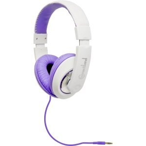 Connectland Binaural Design Purple / White Headset with 40mm Speaker at 20Hz - 20kHz Over Head On Ear