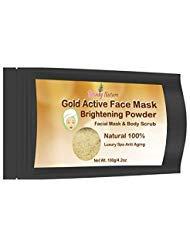 Premium 24K Gold Active Face Mask Brightening Powder Luxury Spa Anti Aging with Herbal Pueraria mirifica Tamarind Natural All Skin Facial Body Whitening Facial Scrub Skin Firming