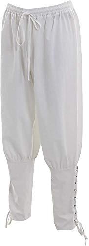 Bslingerie Mens Medieval Pirate Pants Renaissance Costume Lace Up Trousers (M, White) -