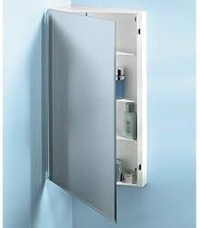 Jensen 867P30WH Corner Medicine Cabinet with Beveled Mirror, 16-Inch by 30-Inch