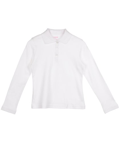 French Toast Big Girls' L/S Fitted Knit Polo with Picot Collar - White, 10/12