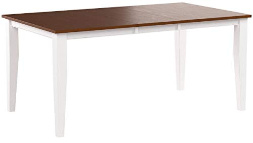Trithi Furniture - Fullerton Solid Wood Extendable Dining Table with Cherry Color Tabletop (White Frame)