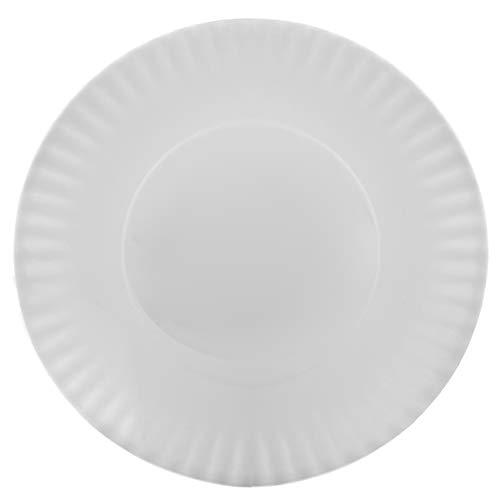 Melange 6-Piece 100% Melamine Salad Plate Set (Paper Plate Collection) | Shatter-Proof and Chip-Resistant Melamine Salad Plates | Color: White