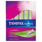 Tampax Tampon Radiant Super Unscented 16 Ct, Pack of 18