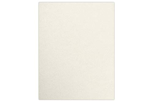 """LUXPaper 8.5"""" x 11"""" Cardstock for Crafts and Cards in 105 lb Quartz Metallic, Scrapbook Supplies, 50 Pack (Off-White)"""