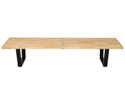 MCM George Nelson Style 6 Feet Platform Bench, Modern Classic Design. 6FT Platform Bench Stool Table Mid-Century George Nelson Style Natural Wood Top Quality for Bedroom TV Lounge Reading - HS020N182
