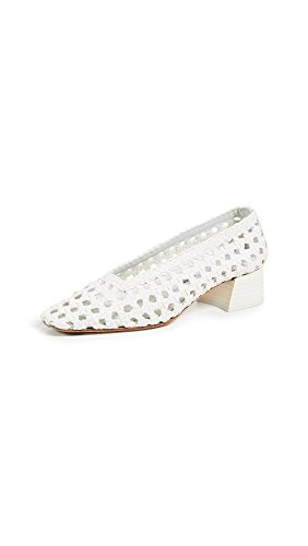 Miista Womens Taissa Block Heel Pumps Plain White