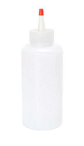 - Vestil BTL-RC-16 Low Density Polyethylene (LDPE) Round Squeeze Dispensing Bottle with Removable Red Cap, 16 oz Capacity, Clear
