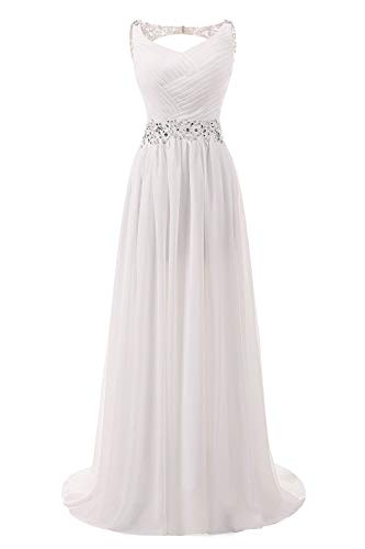 - Abaowedding Women's Chiffon V Neck Shoulder Straps Long Wedding Evening Dress Ivory US 8