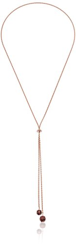 14k Rose Gold Plated Sterling Silver Genuine Garnet and Diamond Accent Lariat Necklace, 26'' by Amazon Collection (Image #1)