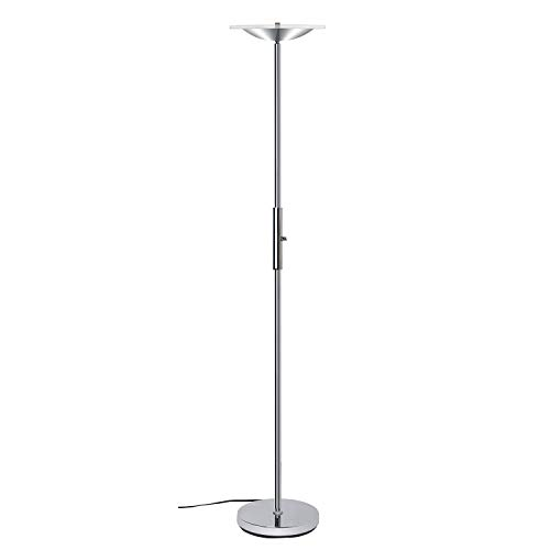 Floor Lamp SUNLLIPE LED Torchiere Floor Lamp Acrylic Shade Compatible with Wall Switch Led Floor Lamp 18W 90° Top Adjustable Dimmable Stand Up Lamp for Bedroom, Living Room, Office —Satin Nickel (Room Ca Living)