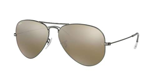 Ray Ban RB3025 AVIATOR LARGE METAL 029/30 55M Matte Gunmetal/Green Silver Mirror Sunglasses For Men For Women