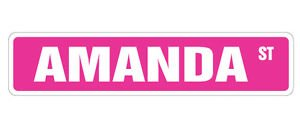 (Vinyl USA Amanda Street Sticker Sign Kids Room Childrens Name Gift Kid Child boy Girl Wall Entry )